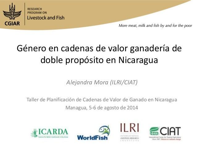 Género en cadenas de valor ganadería de doble propósito en Nicaragua Taller de Planificación de Cadenas de Valor de Ganado...