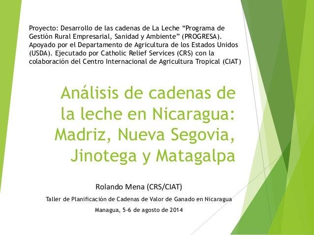 Análisis de cadenas de la leche en Nicaragua:Madriz, Nueva Segovia, Jinotega y Matagalpa