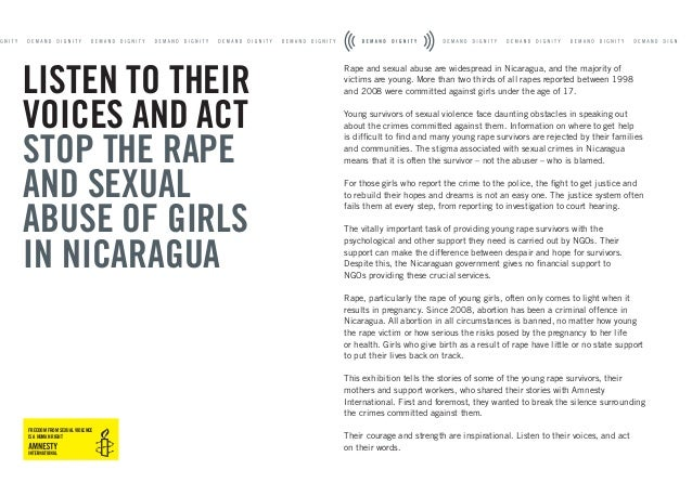 Rape and sexual abuse are widespread in Nicaragua, and the majority of victims are young. More than two thirds of all rape...