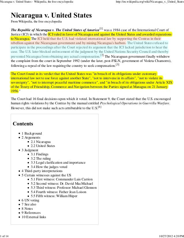 Nicaragua v. United States - Wikipedia, the free encyclopedia                      http://en.wikipedia.org/wiki/Nicaragua_...