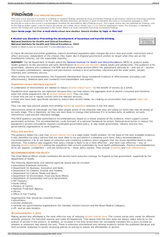 ALCOHOL PREVENTION GUIDELINES FINDINGS
