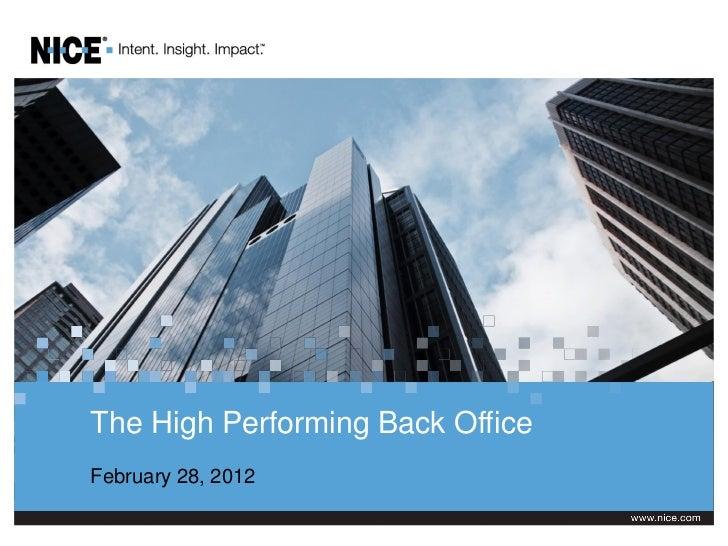 Webinar: Back Office: February 28, 2012