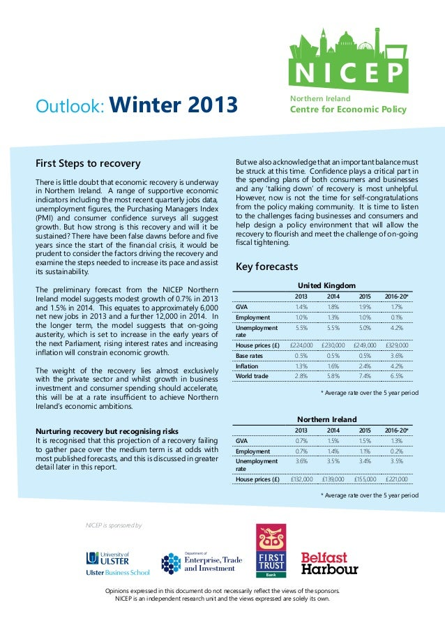 NI Centre for Economic Policy Outlook Winter 2013