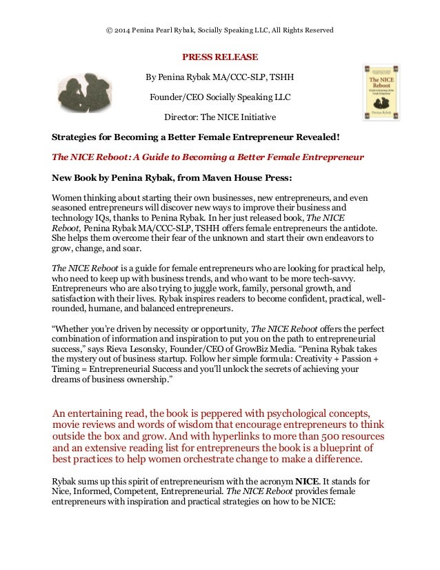 Nice Reboot Book Press Release: Maven House Press, March 2014