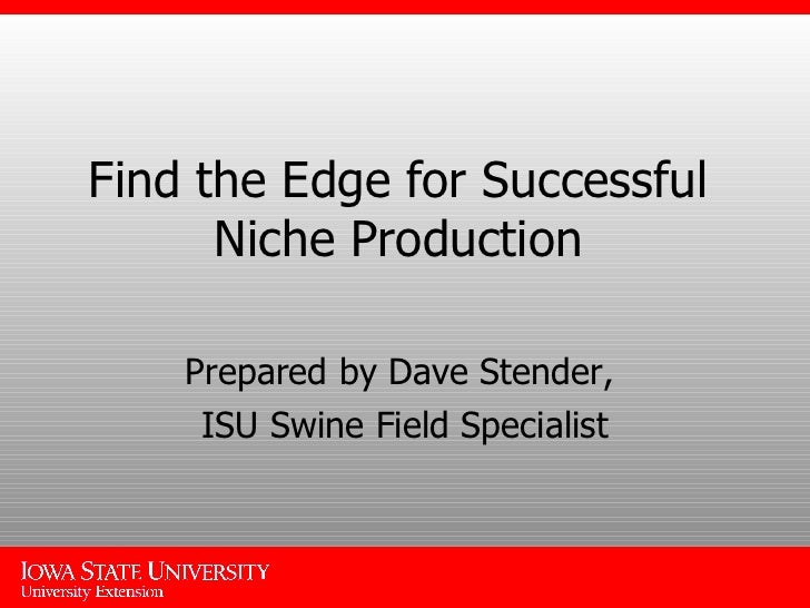 Find the Edge for Successful Niche Production Prepared by Dave Stender,  ISU Swine Field Specialist