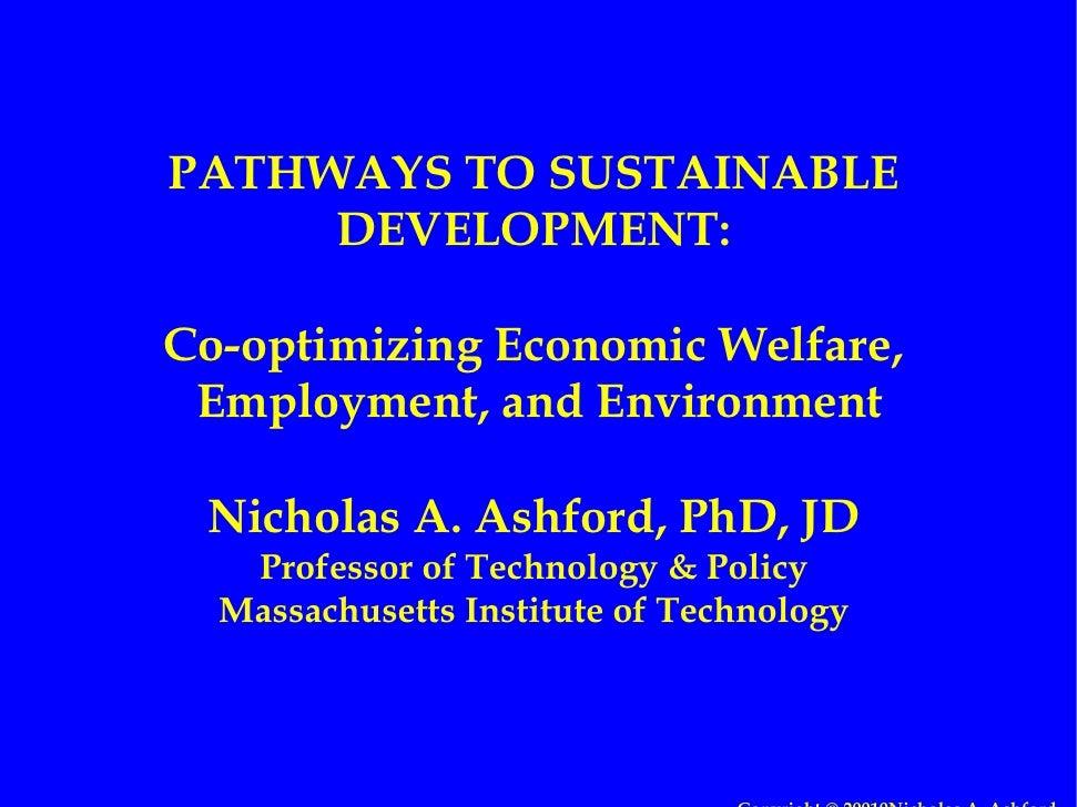 Pathways to Sustainable Development; Co-optimizing Economic Welfare, Employment and Environment