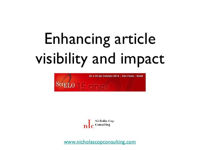 Enhancing article visibility and impact  www.nicholascopconsulting.com