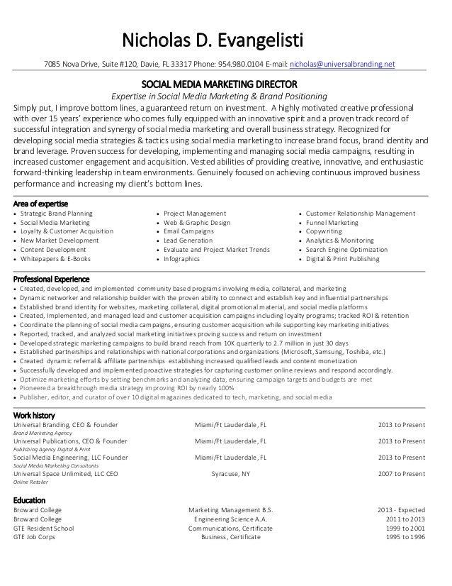 Captivating Nicholas Evangelisti Social Media Marketing Director Resume