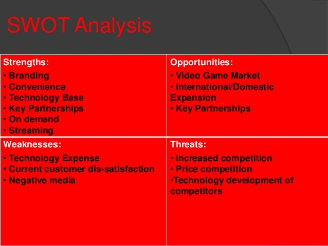 "netflix swot analysis essays Amazon is the largest online retailer and netflix is an industry giant in the movie streaming or dvd rental business both began as small companies with fewer than 100 employees and now are multi-billion dollar corporations as a result of their innovation and their desire to be elite amazon's mission statement is ""to be earth's most customer."
