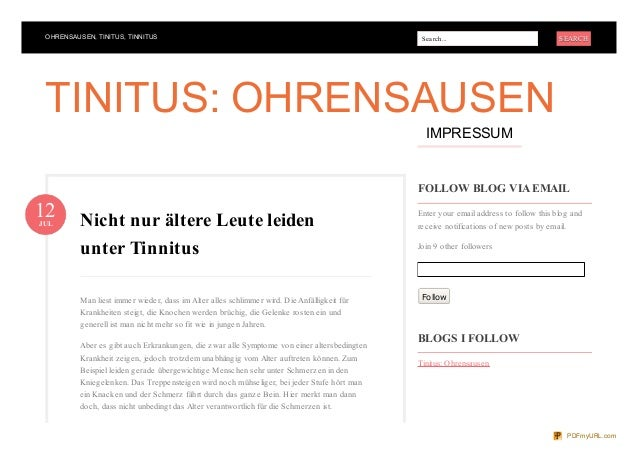 OHRENSAUSEN, TINITUS, TINNITUS Search... SEARCHSEARCH FOLLOW BLOG VIA EMAIL Enter your email address to follow this blog a...