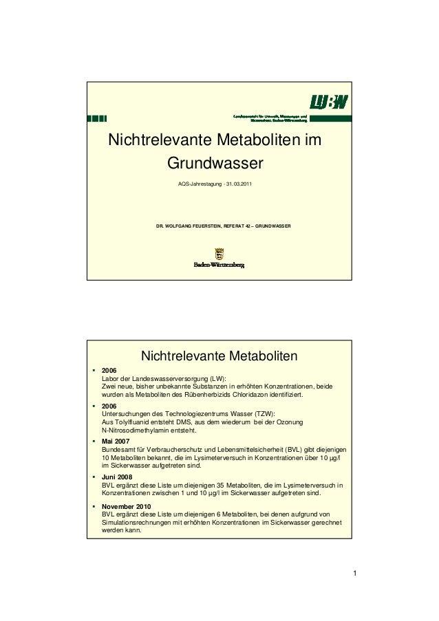 Nichtrelevante Metaboliten im Grundwasser AQS-Jahrestagung - 31.03.2011  DR. WOLFGANG FEUERSTEIN, REFERAT 42 – GRUNDWASSER...
