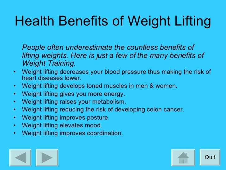 the benefits of weightlifting Studies show that vaginal weightlifting has other health benefits, too your pelvic  organs are better supported by stronger pelvic floor muscles,.