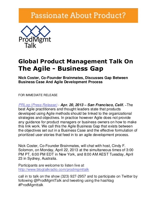 Global Product Management Talk OnThe Agile - Business GapNick Coster, Co-Founder Brainmates, Discusses Gap BetweenBusiness...