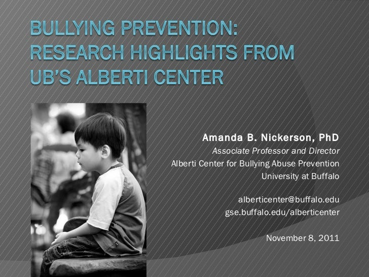 Bullying Prevention: Research Highlights from UB's Alberti Center