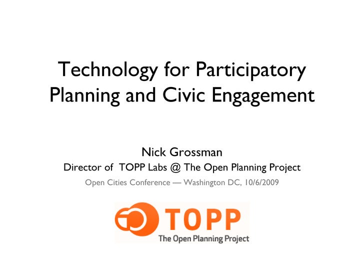Technology for Participatory Planning and Civic Engagement