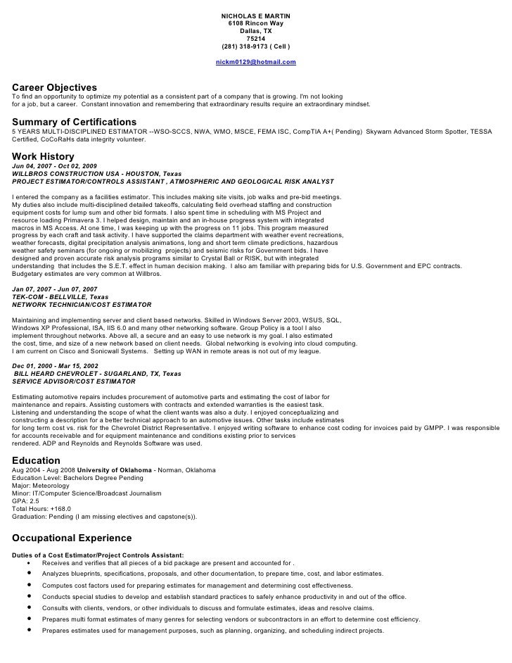 nick martin resume estimator