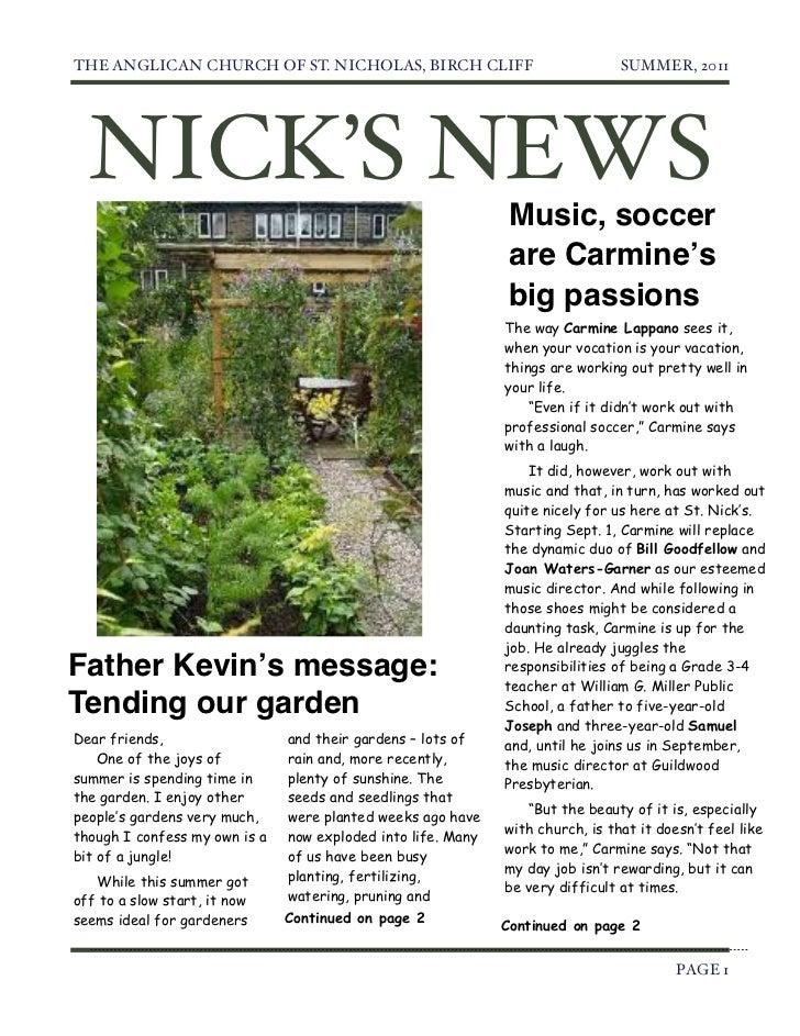 THE ANGLICAN CHURCH OF ST. NICHOLAS, BIRCH CLIFF                               SUMMER, 2011    NICK'S NEWS                ...