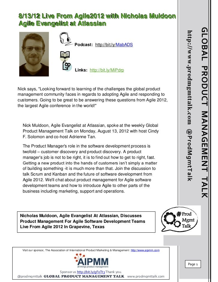 8/13/12 Global Product Management Talk Live From Agile 2012 With Nicholas Muldoon, Agile Evangelist