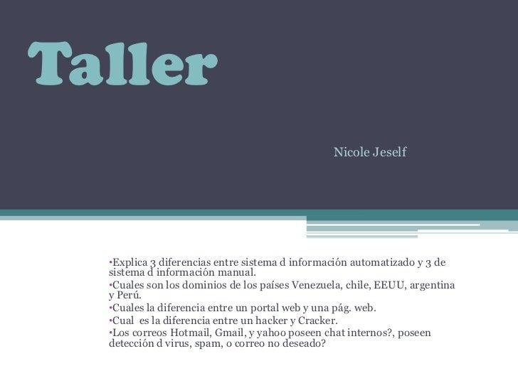Taller<br />Nicole Jeself<br /><ul><li>Explica 3 diferencias entre sistema d información automatizado y 3 de sistema d inf...