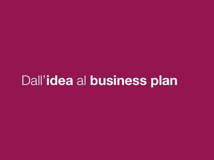 Dall'idea al business plan