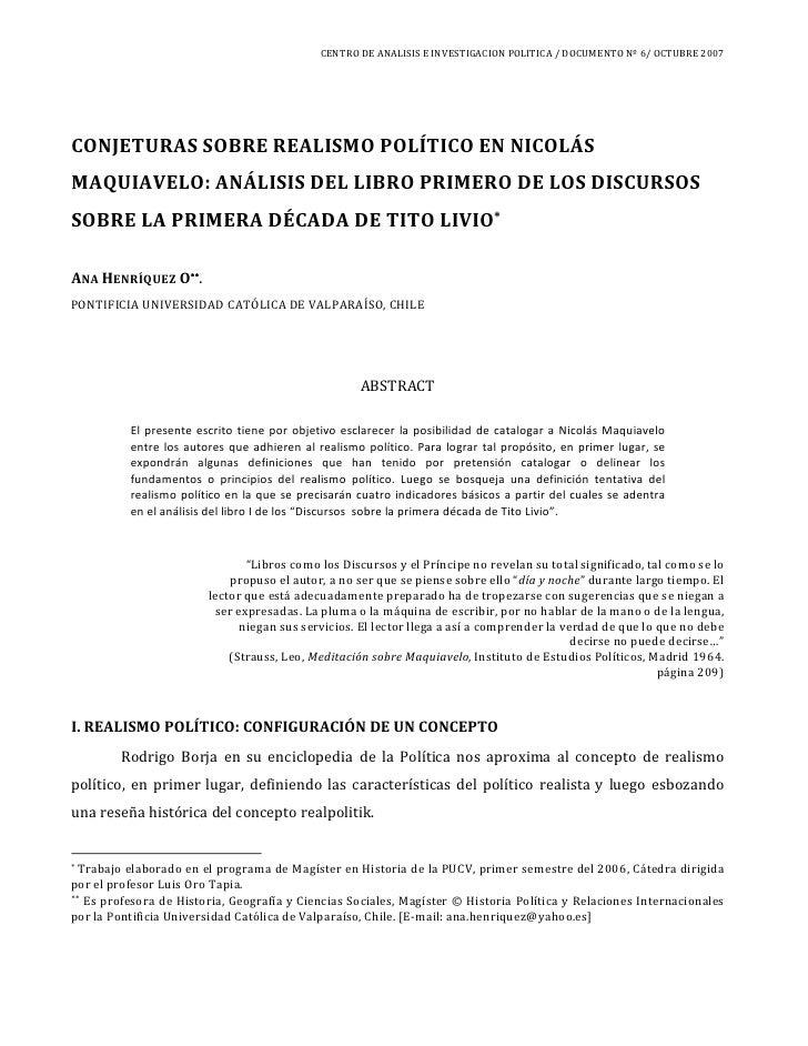 CENTRO DE ANALISIS E INVESTIGACION POLITICA / DOCUMENTO Nº 6/ OCTUBRE 2007     CONJETURAS SOBRE REALISMO POLÍTICO EN NICOL...