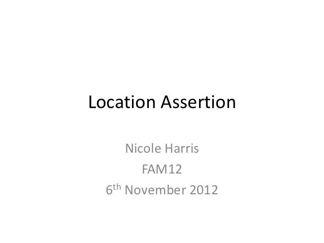 Location Assertion - Nicole Harris, JISC Advance