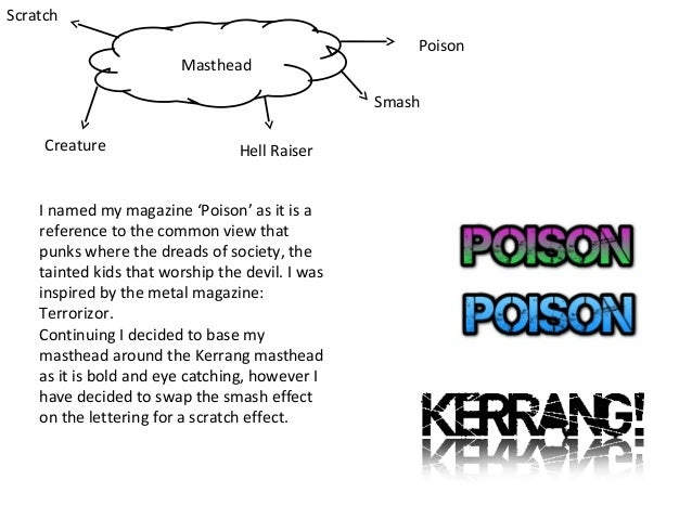 Scratch Masthead  Poison Smash  Creature  Hell Raiser  I named my magazine 'Poison' as it is a reference to the common vie...