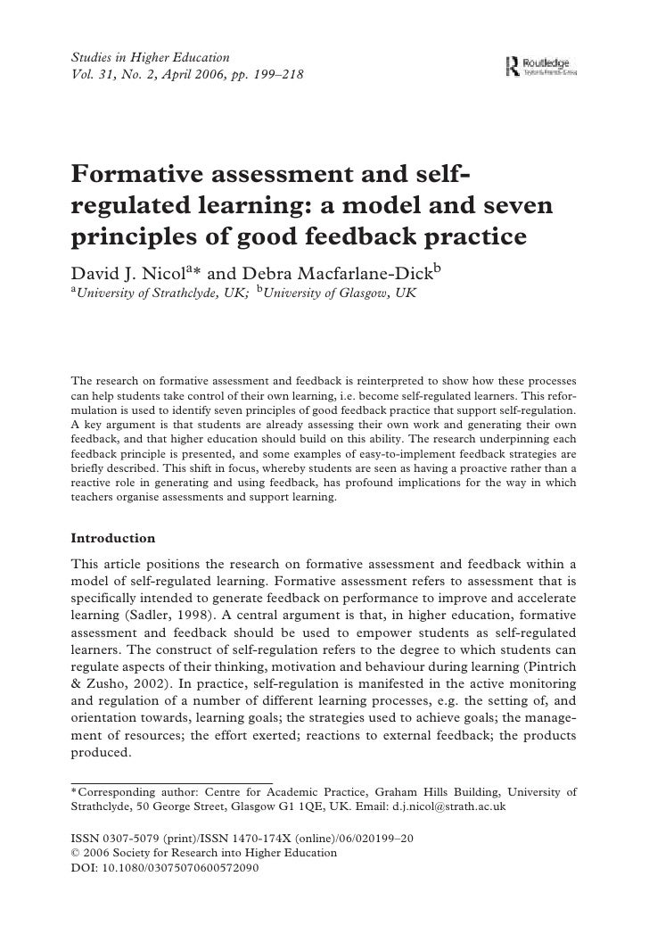 Studies in Higher Education Vol. 31, No. 2, April 2006, pp. 199–218     Formative assessment and self- regulated learning:...