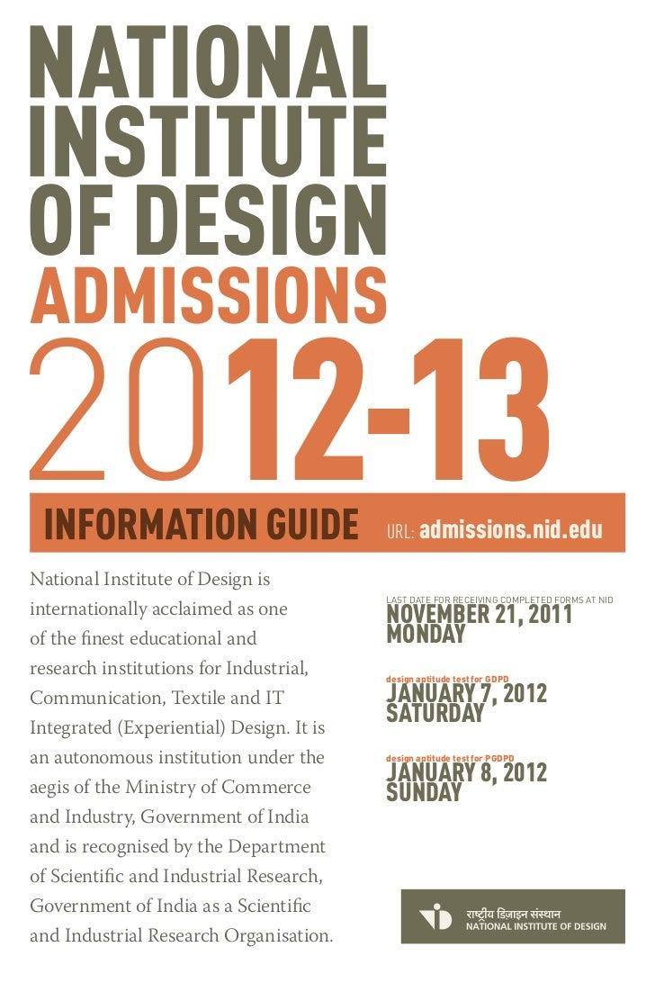 Nid Admission Prospectus 2012