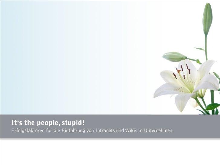 """It's the people, stupid! Erfolgsfaktoren für die Einführung von Wikis und Intranets in Unternehmen"""""""