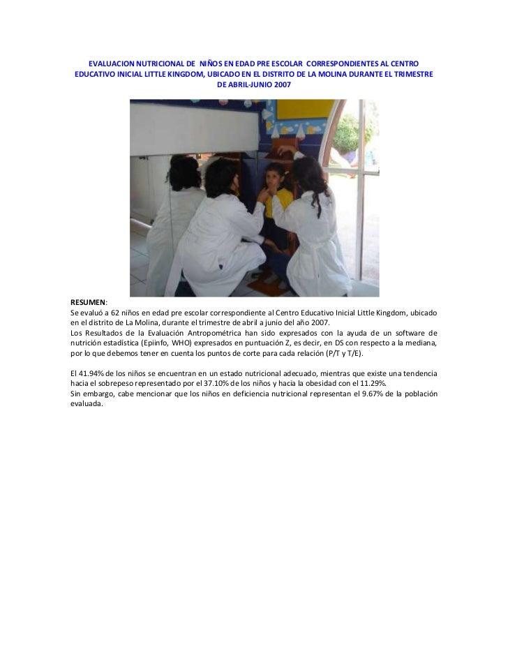 Evaluación Nutricional de Niños en Edad Pre Escolar