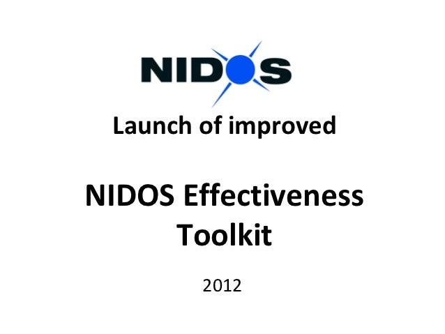 Effectiveness: NIDOS Effectiveness Toolkit (G Wilson, NIDOS)