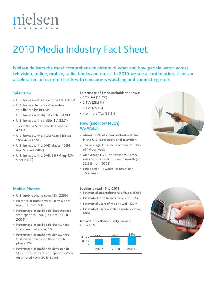 2010 Media Industry Fact SheetNielsen delivers the most comprehensive picture of what and how people watch acrosstelevisio...