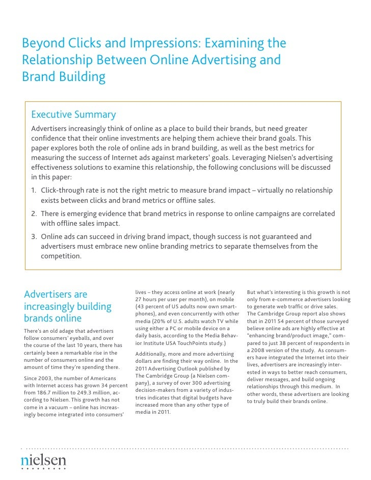 Beyond Clicks and Impressions: Examining theRelationship Between Online Advertising andBrand Building   Executive Summary ...