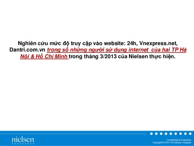 Nielsen - Report on traffic & user of 24h, vnexpress, dantri - 3/2013
