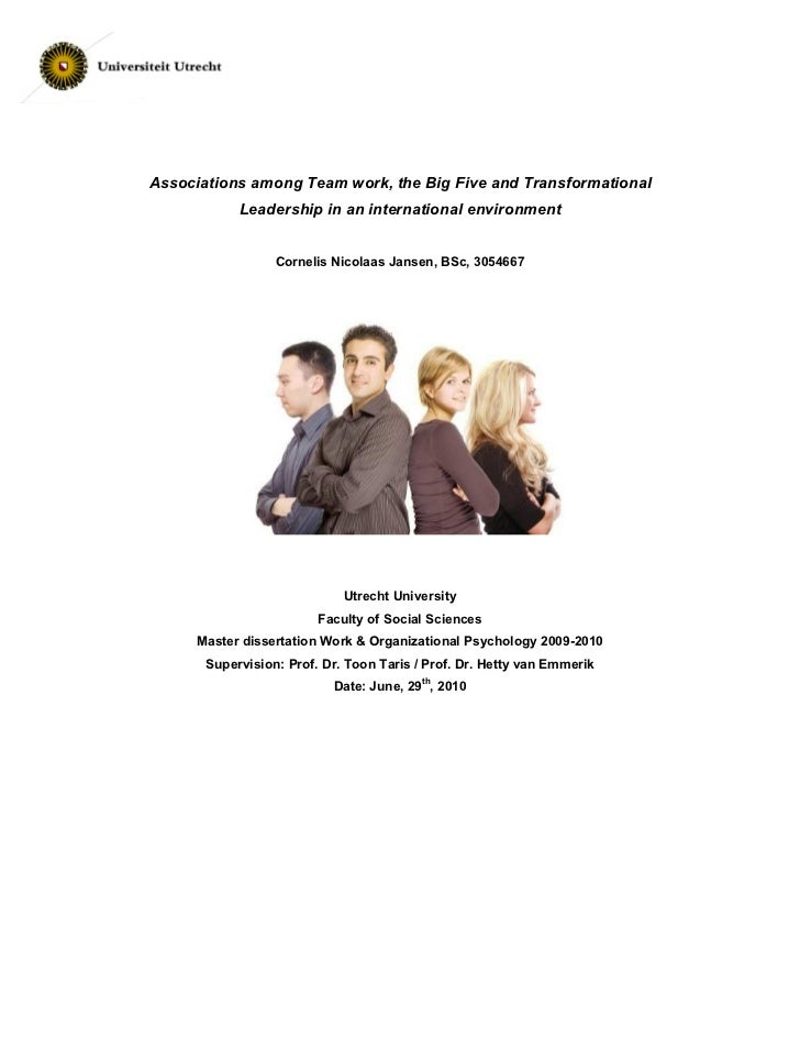 Associations among Team work, the Big Five and Transformational            Leadership in an international environment     ...