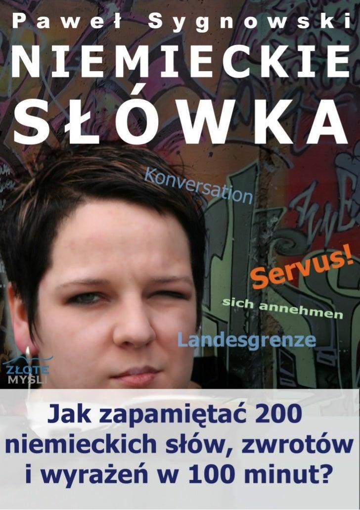 """Ten ebook zawiera darmowy fragment publikacji """"Niemieckie słówka""""                                               Darmowa pu..."""