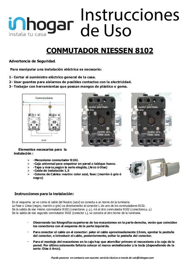 Mecanismo conmutador 8102 niessen - Instalar interruptor conmutador ...