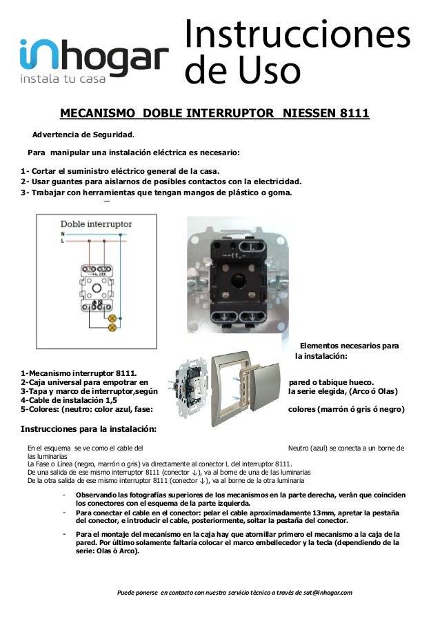 Mecanismo doble interruptor 8111 - Instalar interruptor conmutador ...