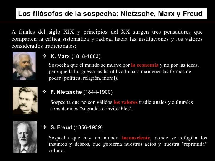 Los filósofos de la sospecha: Nietzsche, Marx y Freud . <ul><li>S. Freud  (1856-1939) </li></ul>A finales del siglo XIX y ...