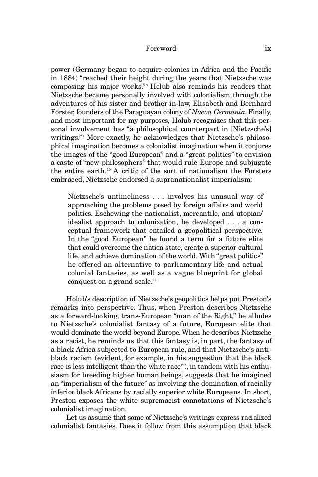nietzsche thesis Continental philosophy journal: new nietzsche studies: the journal of the nietzsche society, edited by david b allison and babette e babich.