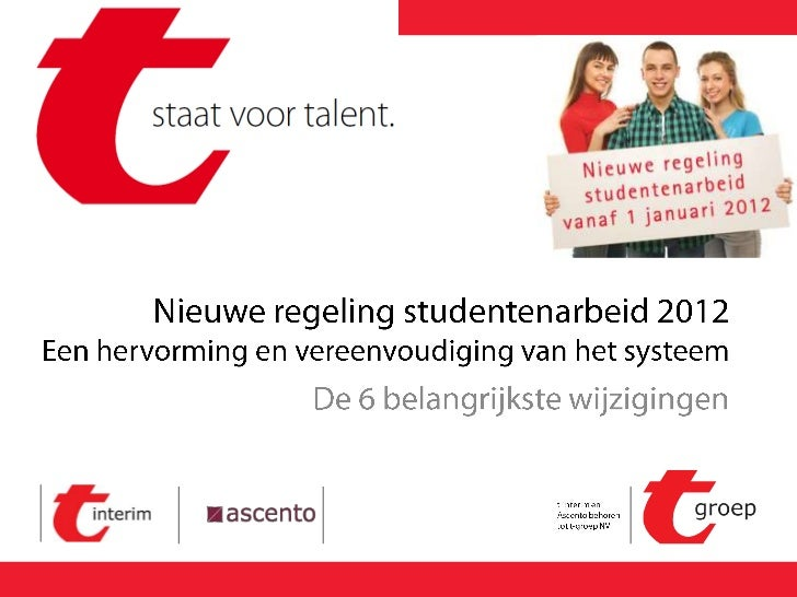 Nieuwe Regeling Studentenarbeid 2012