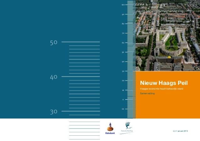 100     90     80     7050   60     50     40     3040   20           Nieuw Haags Peil     10    Haagse economie houdt beh...