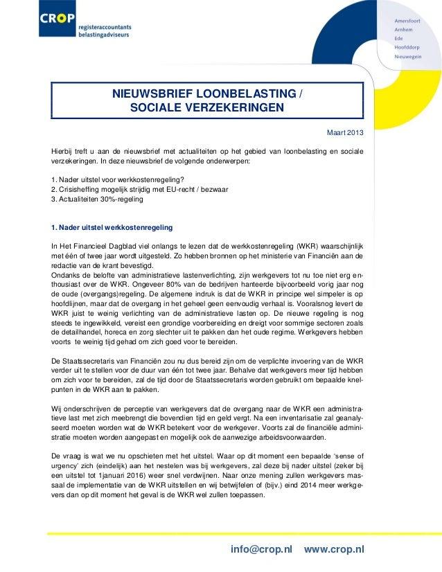NIEUWSBRIEF LOONBELASTING /                      SOCIALE VERZEKERINGEN                                                    ...