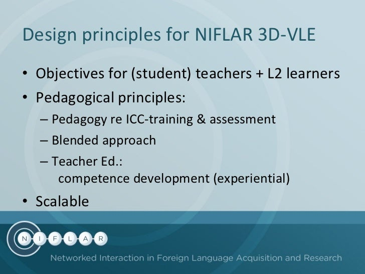 Design principles for NIFLAR  3D-VLE <ul><li>Objectives for (student) teachers + L2 learners </li></ul><ul><li>Pedagogical...