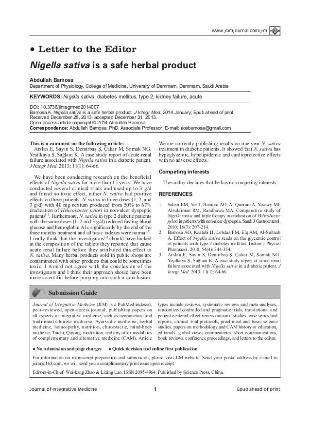 www.jcimjournal.com/jim  ●  Letter to the Editor  Nigella sativa is a safe herbal product Abdullah Bamosa  Department of P...