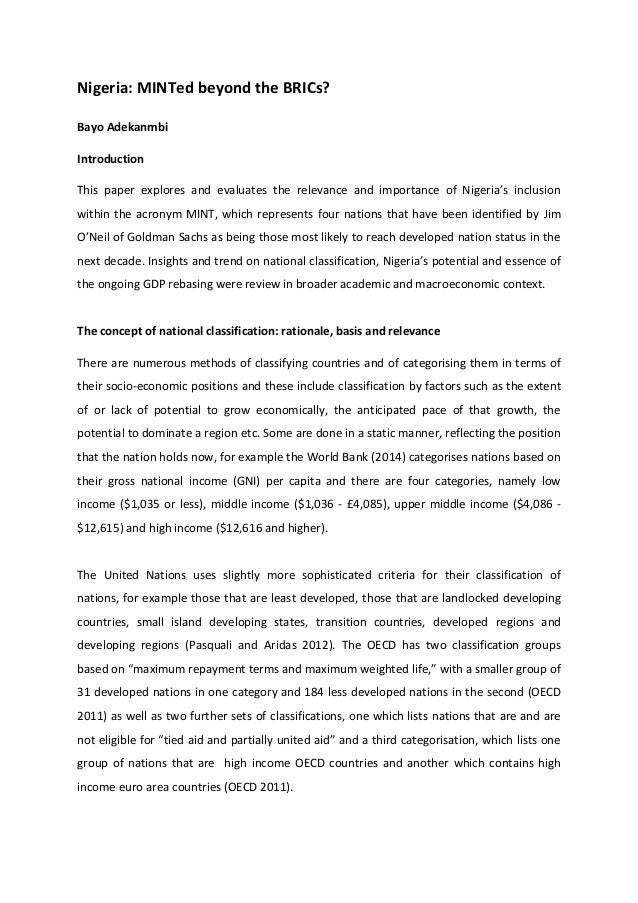 Nigeria: MINTed beyond the BRICs? Bayo Adekanmbi Introduction This paper explores and evaluates the relevance and importan...