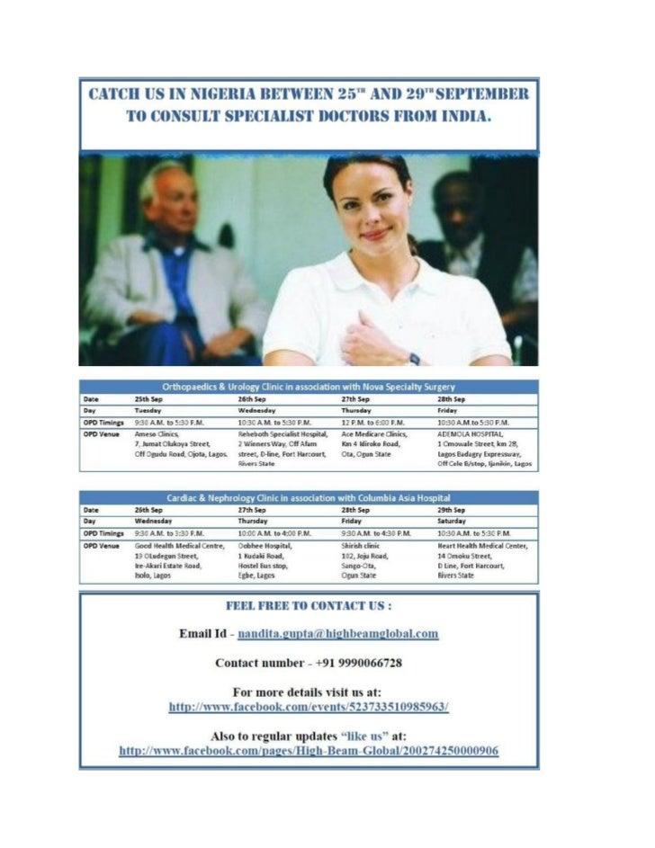 Indian Doctors in Nigeria - Schedule & Venue Details