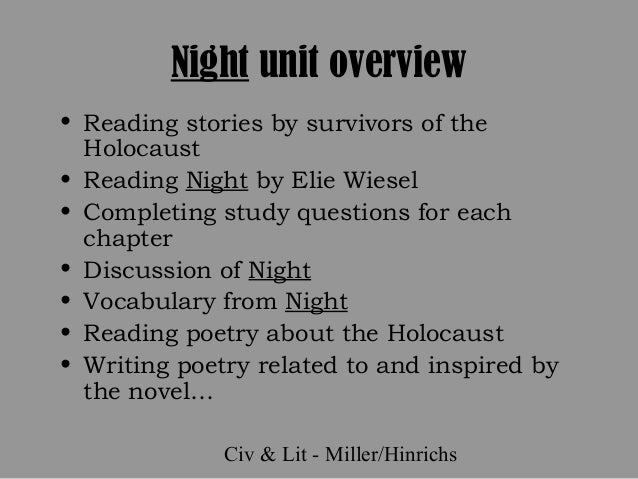the 1940s analysis of the novel night by elie wiesel Night by elie wiesel chapter 1 summary wiesel did not number the chapters in this novel by elie wiesel chapter 9 summary climax of night by elie wiesel.