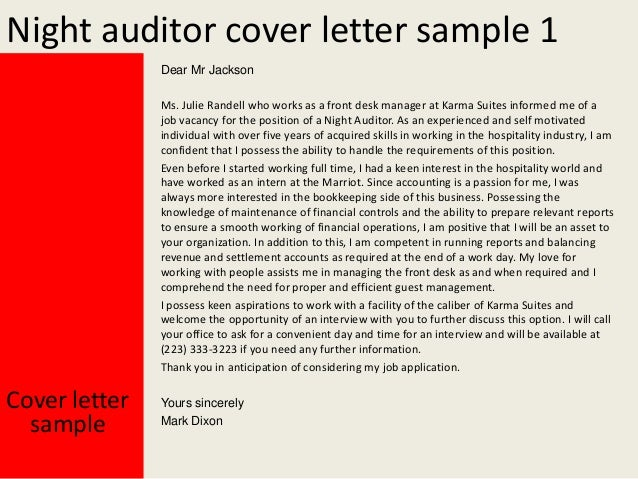 Night Auditor Cover Letter .